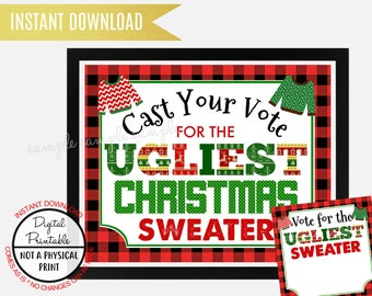 Ugly Sweater Christmas Party Cast Your Vote Ugliest Sign, Ugly Sweater Christmas Party Sign, Printable, Vote for the ugliest Sweater Ballot