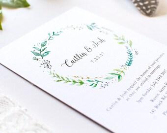 Wedding Invitation / Printable Wedding Invite / Greenery Wreath Invites / Leafy Green Invitations / Rustic Wedding Invitation Template