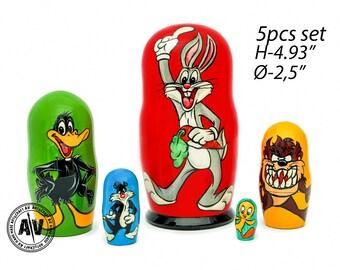 Looney Tunes dolls Nesting dolls for kids Stacking dolls Looney Tunes toys Looney Tunes art Kids gift Bugs bunny Kids toys Toddler gift