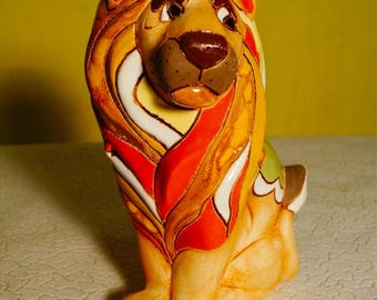 Lion Original Cute figurine lion Ceramic statue handmade fantasy sculpture figure fantasy wild animal figure creature totem surreal