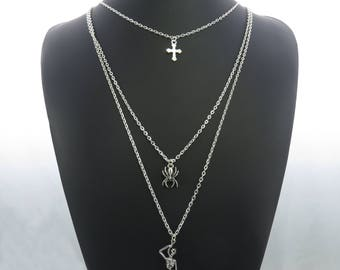 Hanged Skeleton, Spider, and Cross Charm Pendant Multi-Layer Silver-Tone Chain Necklace Statement Sweater Chain ladies jewellery UK SELLER
