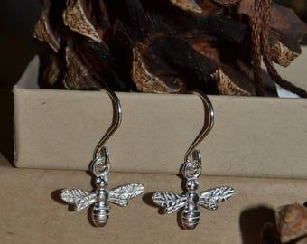 Sterling Silver Bee earrings, Drop dangle Earrings, bridesmaids gifts