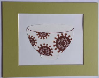 Original paper collage matted for hanging – Pitchers & Bowls Series #32