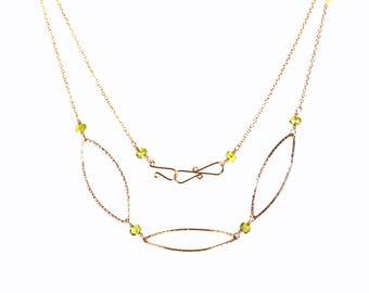 Peridot Birthstone Necklace, Peridot and Gold Necklace, August Birthstone Necklace, Peridot Statement Necklace, Karesza Jewelry