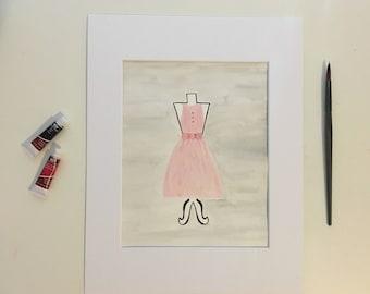 dress hand painted original watercolor