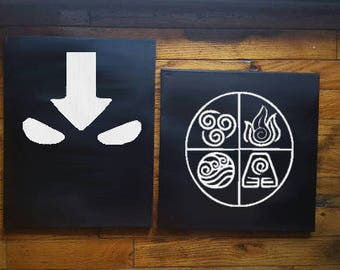Avatar the Last Airbender Canvas, Matching Canvas, Avatar State, 4 Nations, Earth, Water, Fire, Air, Anime, Elemental, Korra, Aang, ATLA
