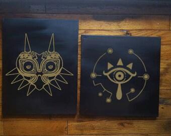 Legend of Zelda Canvas, Majoras Mask, Breath of the Wild, Shiekah Slate, Hylian Shield, Video Games, Nintendo Games, Geek Decor, Fun Decor