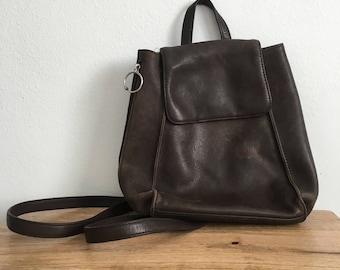 Vintage 90s dark brown leather backpack / purse