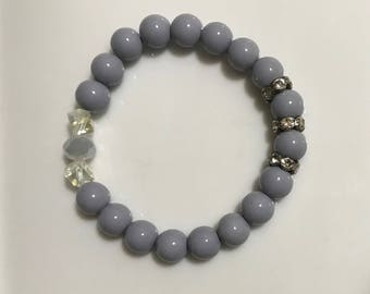 Gray Handmade Beaded Bracelet with Silver and Clear Accents