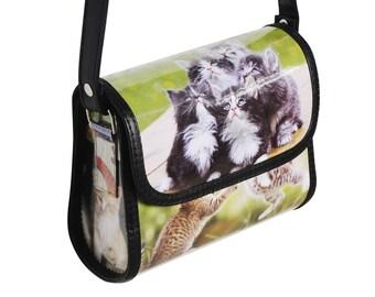 Small crossbody for cat lovers - FREE SHIPPING - Upcycled Bag,  Women crossbody purse, Small vegan bag, sling bag, Hello kitty bag