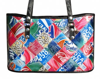 Tote handbag made from soda can, FREE SHIPPING, salvaged upcycled recycled reduce reuse recycle eco friendly products design style drinking