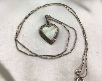 Vintage Sterling Sterling Mother Of Pearl Heart surrounded by marcasite necklace