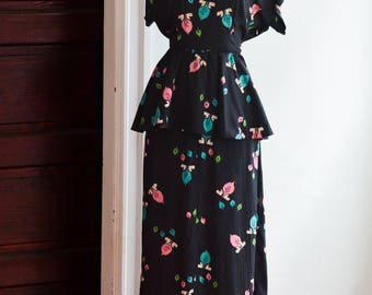 1940s Novelty Print Dress/Waist 28""