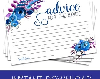 Bridal Shower Advice Cards Blue, Advice for the Bride Printable, Blue Floral Bridal Advice Cards, Printable Shower Advice Cards Blue
