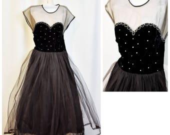 50s Black Velvet & Tulle Illusion Sweetheart Cupcake Dress