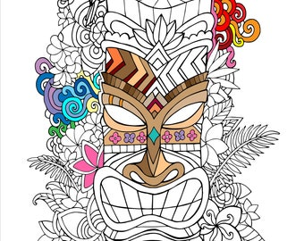 Printable Tropical Tiki Coloring Page
