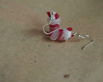 Earrings strawberry milkshake