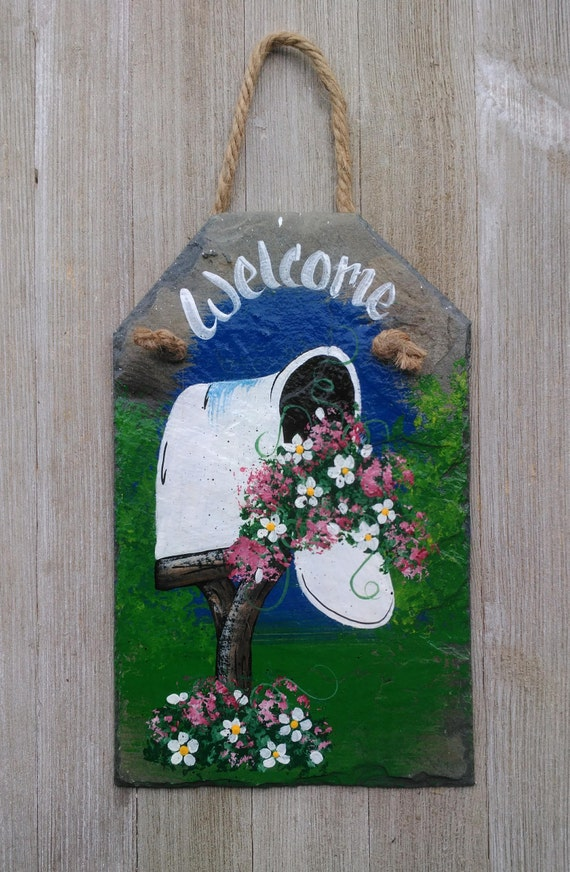 primitive welcome slate garden decor hand painted summer