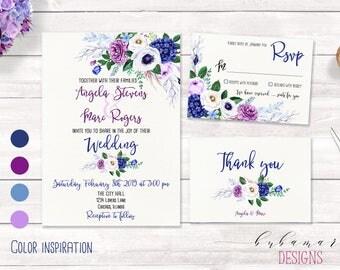Purple Blue Floral Wedding Invitation Set Boho Navy Lilac Lavender Flowers Digital Wedding Invite Suite Romantic Wedding Invitation - WS021