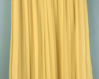 VINTAGE amazing long sunshine yellow pleated skirt UK 14/16
