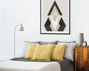 Geometric Abstract Print. Abstract Art. Geometric Art. Black Art. Minimal Scandinavian Inspired Dark Interiors. Wall Decor