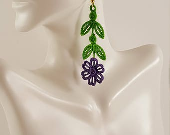 Purple lace earrings Hand Painted lace earrings Lace jewelry Embroidered earrings Embroidered jewelry Colorful jewelry Colorful earrings