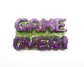 Pin badge Game over gamer gaming geek gaming resin with glitter