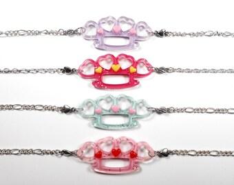 BALANCES-50% Choker - knuckles pastel goth kawaii heart glitter punk rock necklace