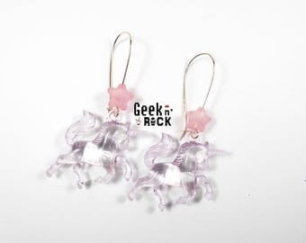 3D Unicorn and star earrings
