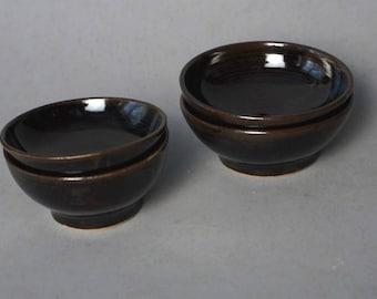 Small brown ceramic bowls -- Handmade stoneware ceramics