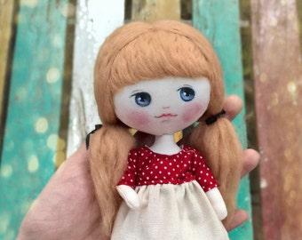 Art doll, Handmade cloth doll, OOAK doll, cloth dolls, Collectible doll, ooak art doll, ooak toy, lati yelllow, artist doll, artist toy