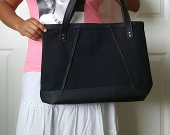 Black Handbag, Black Faux Leather Bag, Tote, Diaper Bag, Beach Bag, Travel Bag, Work Bag, Laptop Bag, Large Purse, Shoulder Bag, Womens Bag