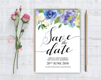 Printable (DIY) BLUE ROSES - Save The Date - A6