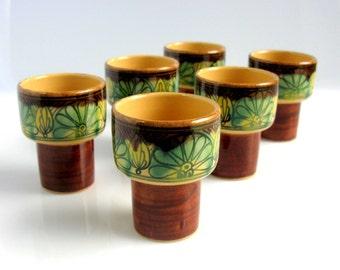 60,s / Swedish Ceramic Shot Glasses Set / Cups / Laholm Keramik / Set of Six / Scandinavian / Modern / Hand Painted / Studio / Art Pottery