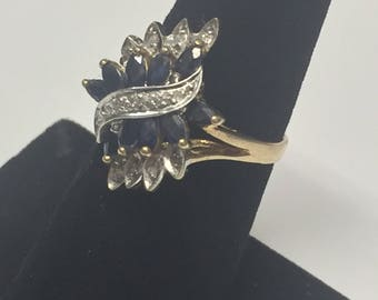 Beautiful 10K Yellow Gold Marquise Cut Sapphire w/ Diamond Accents Ring Size 6 1/2