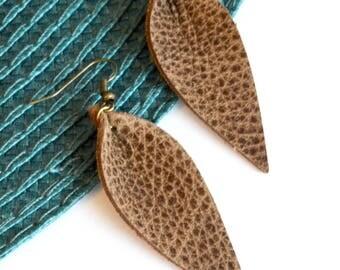 Leather Earrings:  Medium Brown Leather Leaf Earrings // Joanna Gaines Inspired Brown Leather Earrings