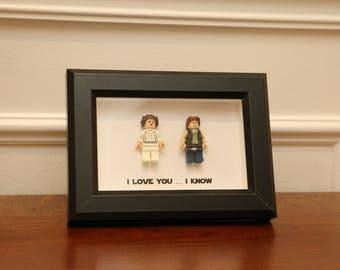 Lego I Love You I Know Framed Han Leia Star Wars Mini Figures I Love You I Know Minifigures Wedding Anniversary Personalized UK USA Canada C