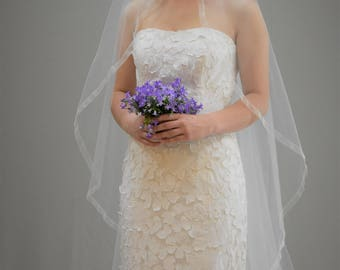"Sheer 75"" Floor Length Wedding Veil with 5/8"" Organza Ribbon Edge"