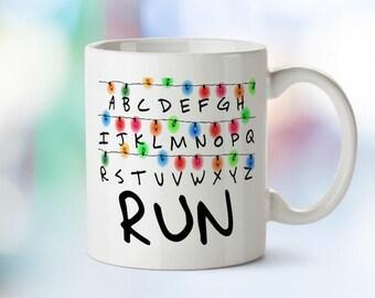 Personalised Stranger Things Mug | Stranger Things Lights | Serendipity Store | Run | Funny Gift