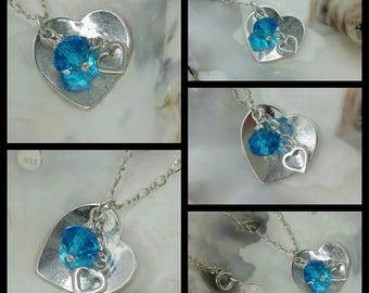 Handmade Solid Sterling Silver Heart and Crystal Charm Necklace
