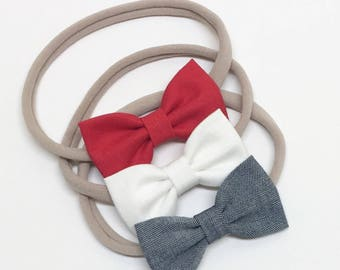 Fourth of July Hair Bows - Red White Blue Chambray - Hair Bows - Clips or headbands