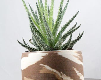 Marbled Clay Planter - Decorative Handmade Pots