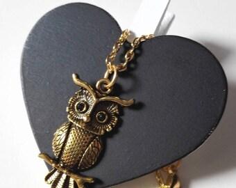 Harry Potter Hedwig OWL necklace gilded antique vintage Hogwarts magic geek gift idea