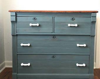 Antique blue dresser