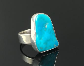 Turquoise Nugget Ring Sterling Adjustable