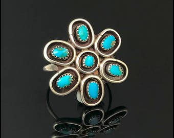 Turquoise Cluster Ring, Native American Zuni Navajo Sterling Silver