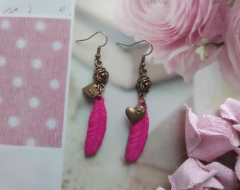 Feather earrings raspberry colors polymer clay