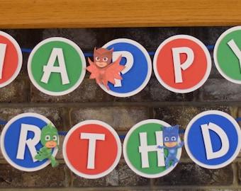 PJ Mask Happy Birthday Banner - PJ Mask Theme - PJ Mask Party - Happy Birthday Banner - Pj Mask Decorations - Superhero Party - Banner