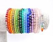 Rainbow bracelet, rainbow beaded bracelet, memory wire bracelet, memory wire wrap bracelet, rainbow chakra bracelet, rainbow cuff bracelet