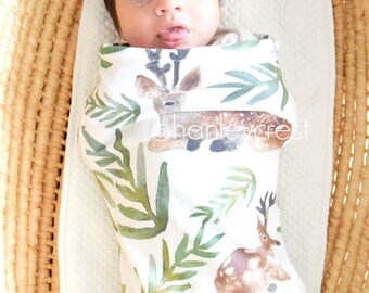 READY TO SHIP | Swaddle Sack, Deer Swaddle, Woodland Swaddle, Baby Girl Swaddle, Baby Boy Swaddle, Christmas Swaddle, Cocoon Swaddle
